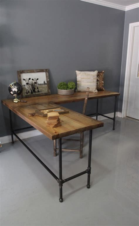 wood and pipe desk industrial l shaped desk wood desk pipe desk reclaimed
