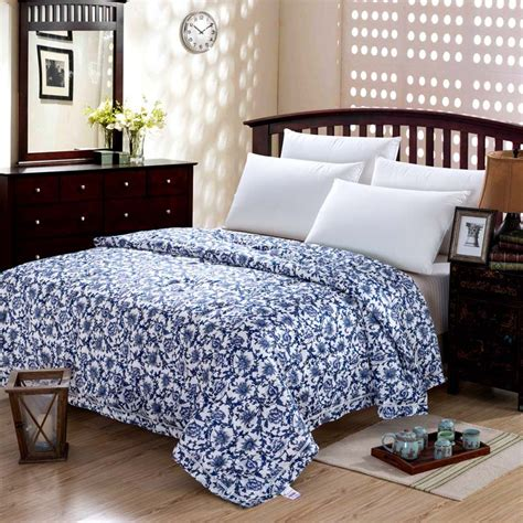 white pattern bedding mulberry natural silk comforter blue and white queen size