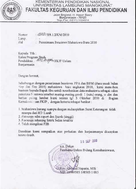 Cara Buat Ban Pt Akreditasi by September 2010 Dept Of Fkip Unlam