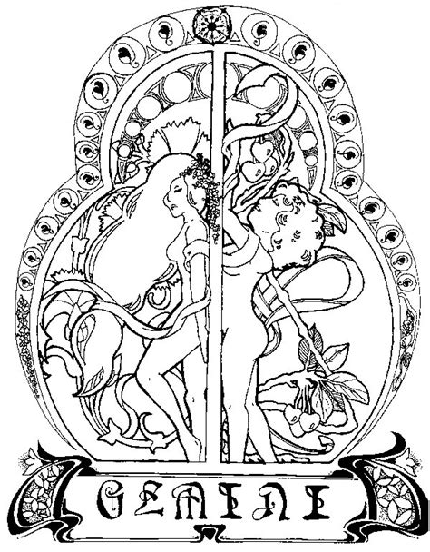 coloring pages for adults zodiac adult coloring page astrology gemini 6