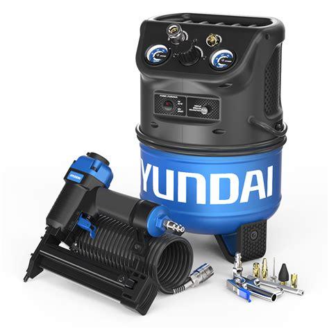 hyundai 2 gal portable electric air compressor with brad