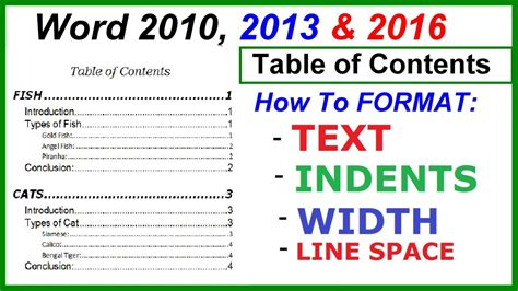 word 2016 2013 2010 using simple borders for a table of contents word 2016 2013 2010 table of contents format t doovi