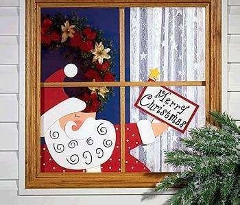 merry christmas window sign new santa claus window sign merry greeting large wood nick peeper 2 pc set