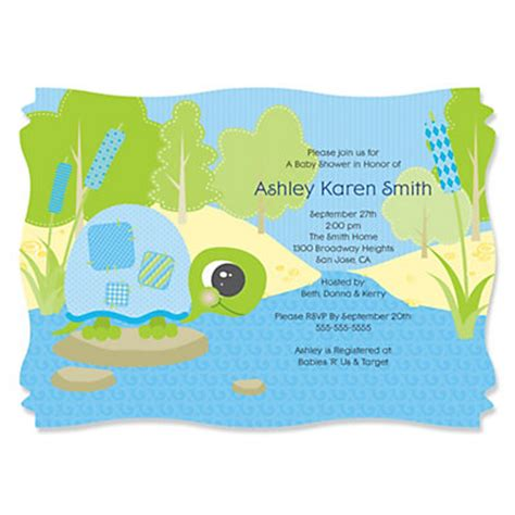 Turtle Baby Shower Invitations by Blue Baby Turtle Personalized Baby Shower Invitations