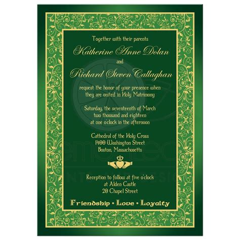 Celtic Wedding Invitations by Celtic Wedding Invitation Green Gold Claddagh Floral