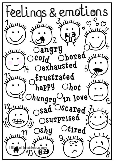worksheets for preschoolers on emotions feelings and emotions matching feelings emotions