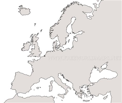 Outline Map Of Europe Physical by Free Printable Maps Of Europe