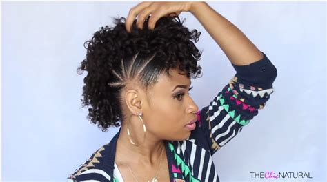 natural ponytail mohawk fun pony hawk curly natural hairstyle video tutorial