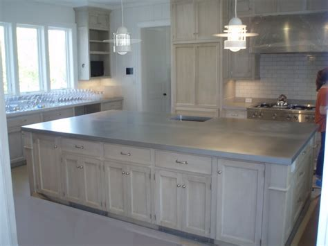 metal top kitchen island zinc countertop gallery custom