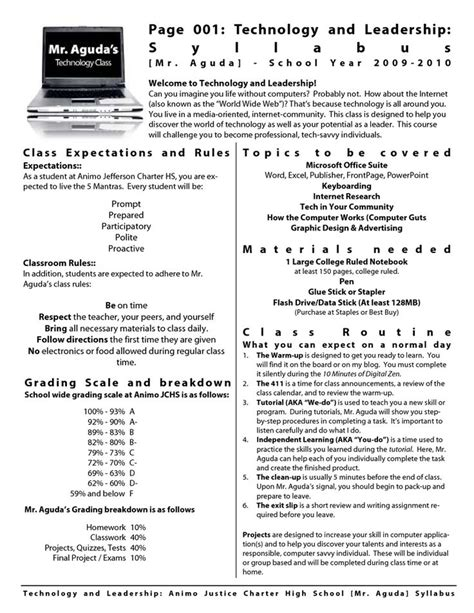 middle school syllabus template high school class syllabus template how to write a