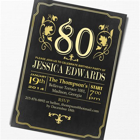 sle invitations for 80th birthday 15 sle 80th birthday invitations templates ideas