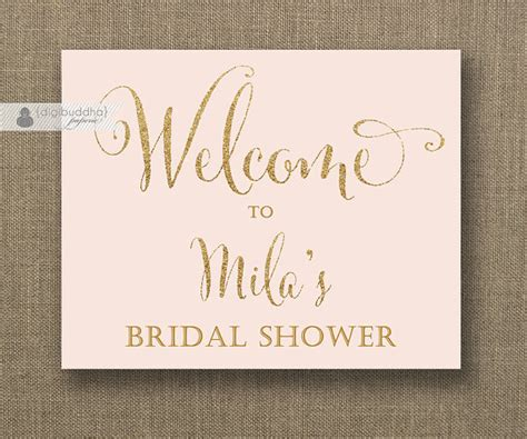 free printable bridal shower welcome sign blush pink gold glitter welcome sign bridal shower