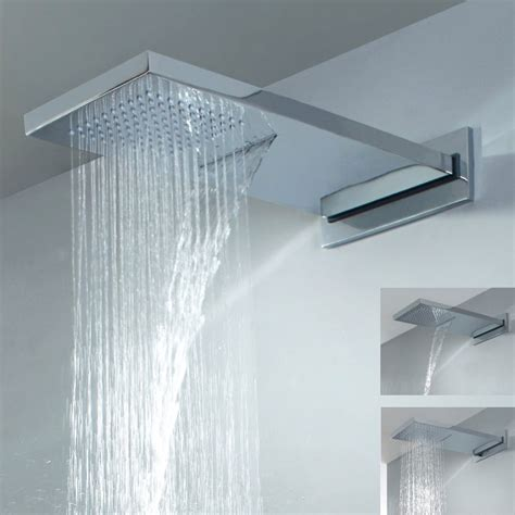 luxury dual function waterfall rain shower head brass chrome