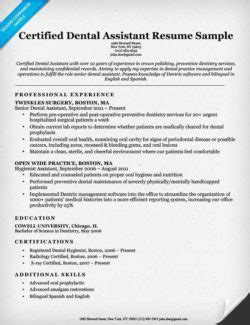 Dental Assistant Resume Skills by Dental Assistant Cover Letter Sle Resume Companion