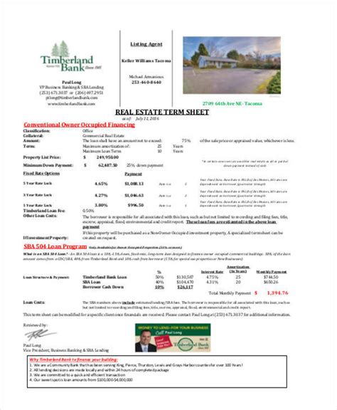 39 Sheet Sles Templates Sle Templates Term Sheet Template Real Estate