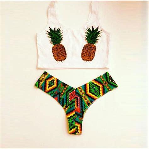 Pineapple Swimsuit pineapple pattern swimwear swimsuit set on luulla