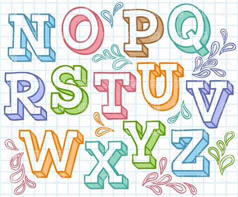 vector design font download colorful sketchy font shaded letters on checkered paper