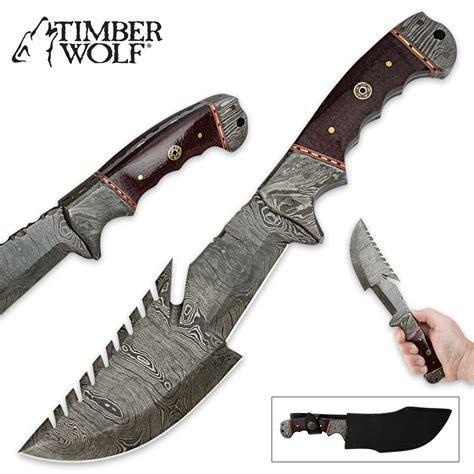 sawback knife timber wolf multifunctional sawback fixed blade damascus