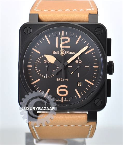 Bellross Br03 94 Black White Brown Leather Bell And Ross 03 94