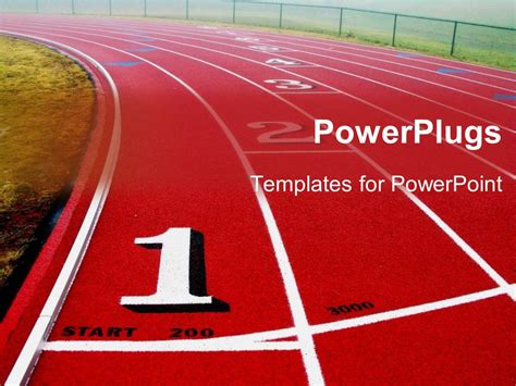 Powerpoint Template A Red And White Sports Track With Some Figures And Text 29972 Sports Powerpoint Template