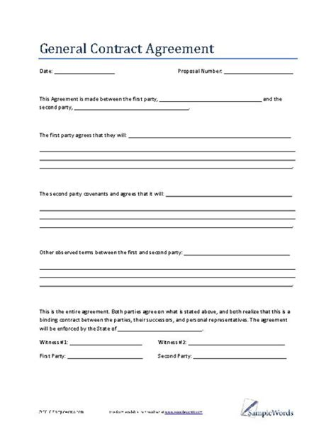 contract forms template general contract agreement template business contract