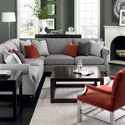 Frontroom Furnishings bernhardt living room in grey red and silver brae