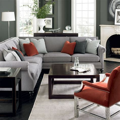gray living room chair bernhardt living room in grey red and silver brae