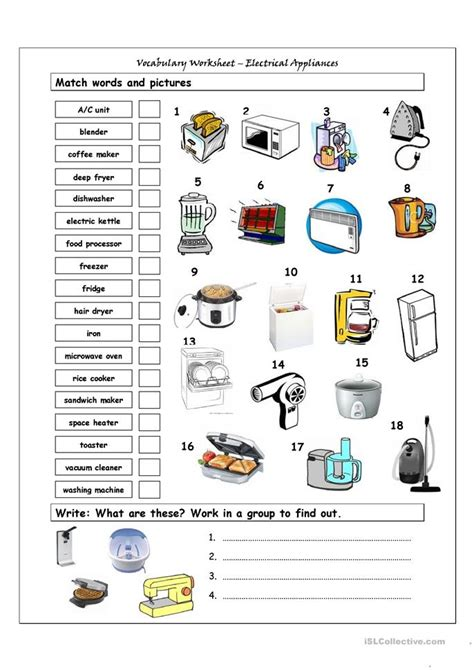 esl resources new february 2016 part 5 lesson vocabulary matching worksheet home appliances worksheet