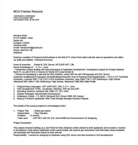 resume format for mca freshers doc 14 resume templates for freshers pdf doc free premium templates