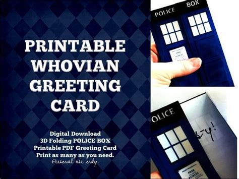 Doctor Who Birthday Cards 3d Greeting Card Printable Version Blank Inside Instant