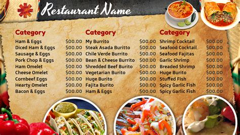 best photos of mexican restaurant menu template blank