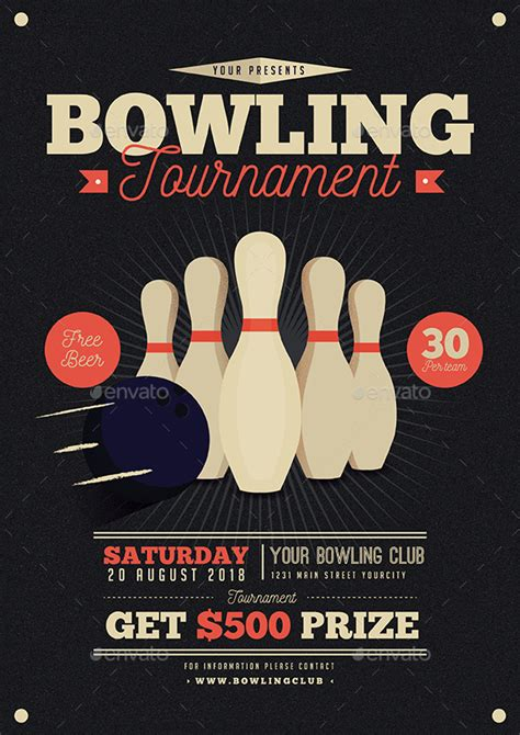 Vintage Bowling Tournament Flyer By Guuver Graphicriver Bowling Event Flyer Template