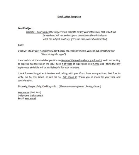 cover letter template email format application letter sle cover letter template email