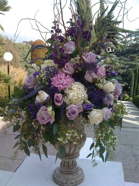 how to make tall flower arrangement in urn youtube royal purple urn wedding and flower arrangements