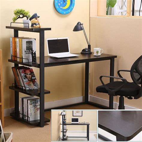portable study table designs with bookshelf view wooden