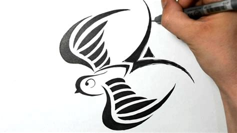 how to draw a swallow tribal tattoo design style youtube