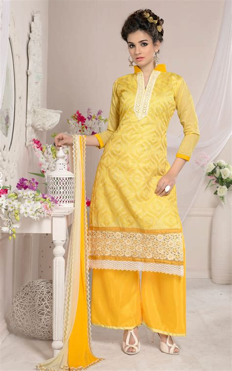 plazo suits lzk gallery plazo images yellow chanderi cotton designer plazo suit