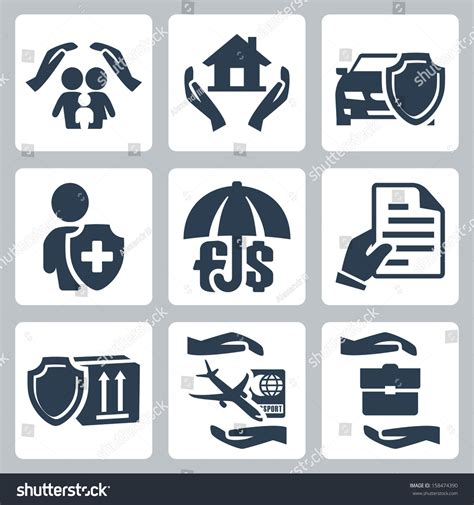 Ins Search Vector Insurance Icons Set Family Insurance Home Insurance Auto Insurance