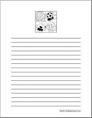 Writing Paper Spider Elementary Abcteach Writing Paper Sports Abcteach