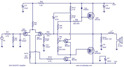 mosfet transistor audio lifier mosfet lifier circuits todays circuits engineering projects