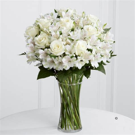 White Roses In Vase by White And Alstroemeria Vase
