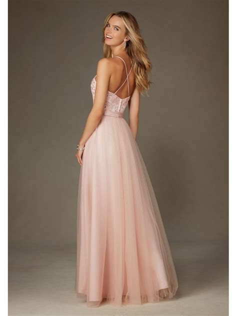 Affordable Long Pink Spaghetti Straps Embroidered Tulle and Satin Bridesmaid Dresses 5602051