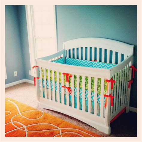 Green And Grey Crib Bedding Custom Crib Bedding Aqua Lime Green And Orange By Gigglesixbaby