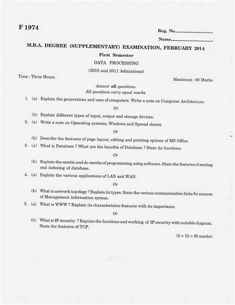 Mba 3rd Sem Question Papers Ou 2014 by Marian Library Mg Mba Semester Question