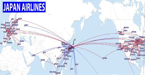 route map international flights japan airlines route map