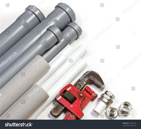Stock Plumbing by Plumbing Tool Pipes And Fittings On White Background Stock