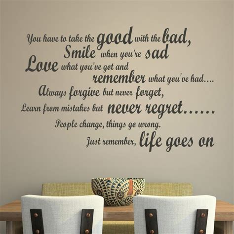 Dining Room Art Ideas by Good With The Bad Wall Sticker Quote Wall Art
