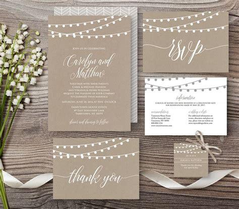 diy wedding invitation card template kraft wedding invitation template rustic string lights mod