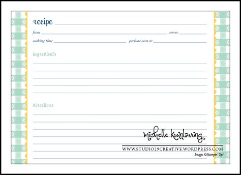 blank recipe card template white gold