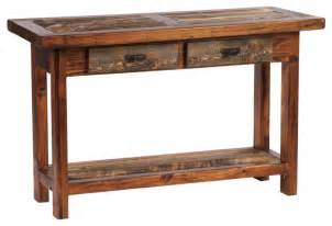 Wood Sofa Table Rustic Four Drawer Reclaimed Wood Sofa Table Rustic